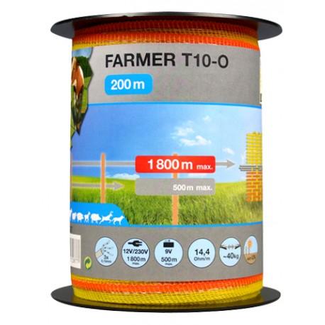 Taśma FARMER T10-O 10mm/200m żółto-pomarańczowa